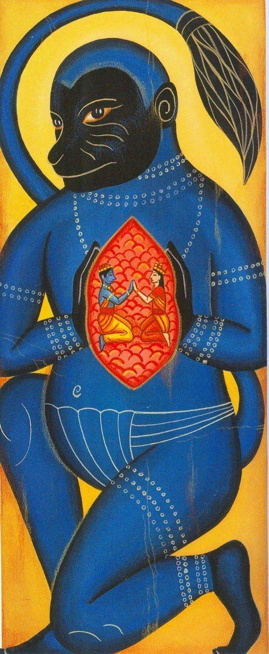 Kalighat painting of Hanuman via androgynousreligions