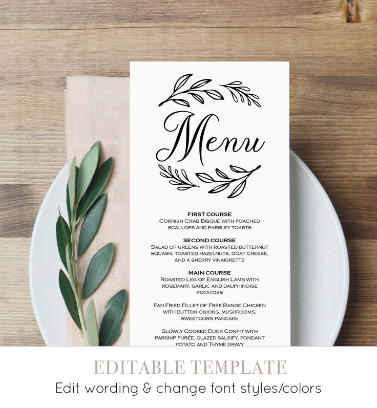 free templates for wedding response cards%0A Menu Card Template Wedding Dinner Menu by MintyPaperieShop on Etsy