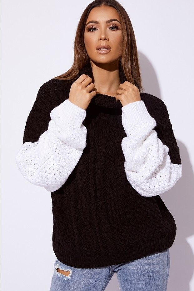 dfcdbe80af9 SARAH ASHCROFT BLACK AND WHITE CABLE KNIT JUMPER