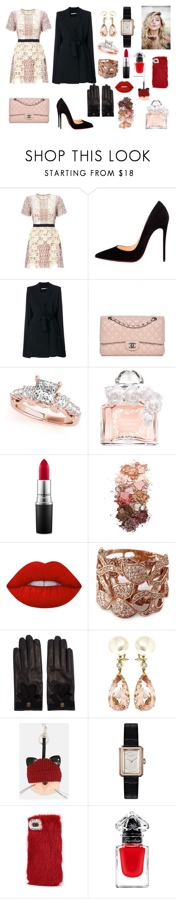"""""""Sans titre #46"""" by sheimabidi on Polyvore featuring mode, Christian Louboutin, Alice + Olivia, Chanel, Guerlain, MAC Cosmetics, Sigma, Lime Crime, Effy Jewelry et Gucci"""