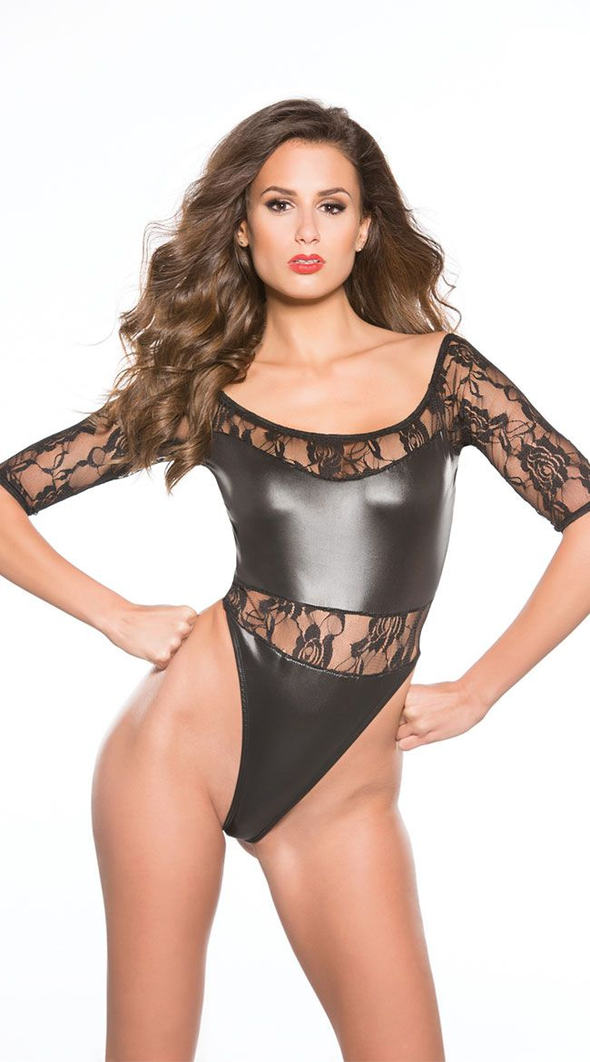 High Cut Thong Leotard Porn - Wet-look and stretch lace teddy with off-the-shoulder half sleeves, high cut-sides,  and thong back.