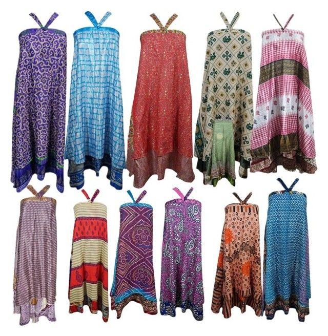 Two Layer Silk Sari Wrep Skirt by boho-chic-2 on Polyvore featuring bohoskirt, wrepskirt, beachskirt and twolayerskirt