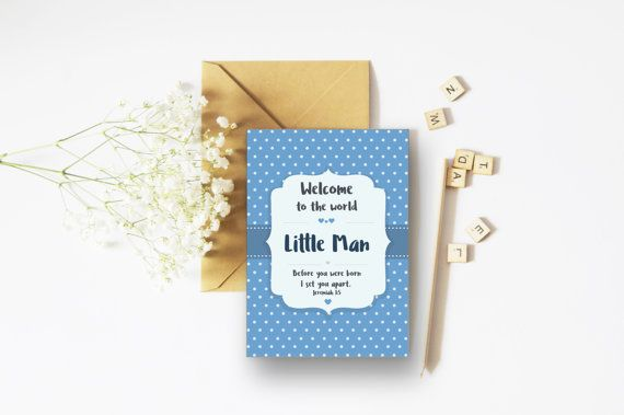 Welcome To The World Little Man A6 Card - New Baby Card - Baby Boy Gift - Baptism Gift - Christening Gift - Dedication Gift - Christian Card