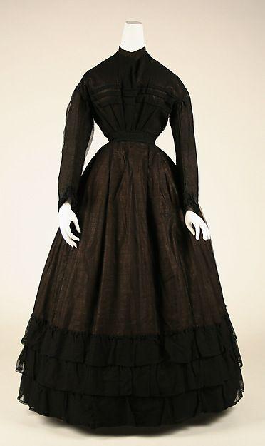 Mourning dress | American | The Metropolitan Museum of Art Date: ca. 1867 Culture: American Medium: cotton, silk