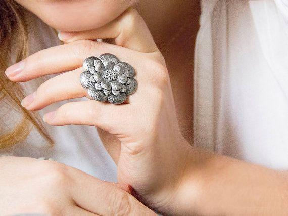 Grey metallic leather flower ring