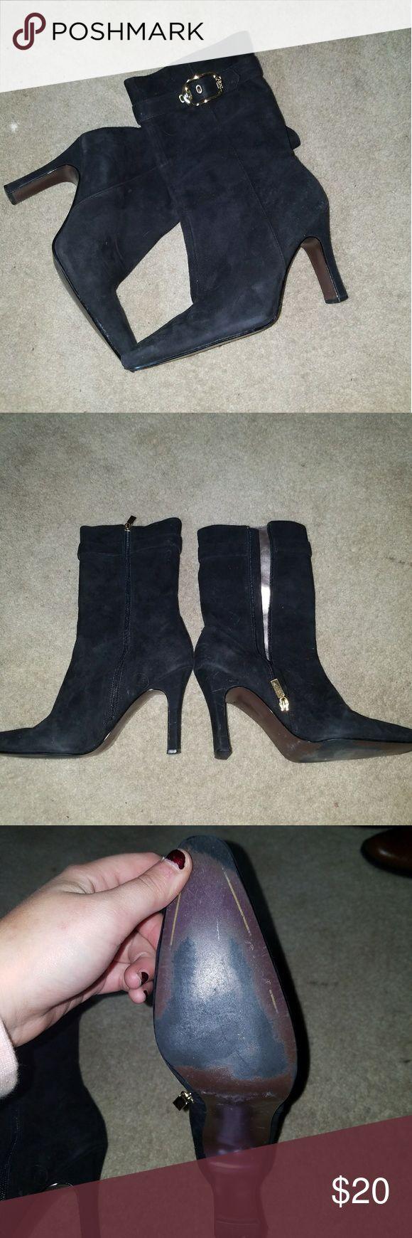 black carlos boot heels Black velvet like heels by carlos. size 8 carlos Shoes Heeled Boots