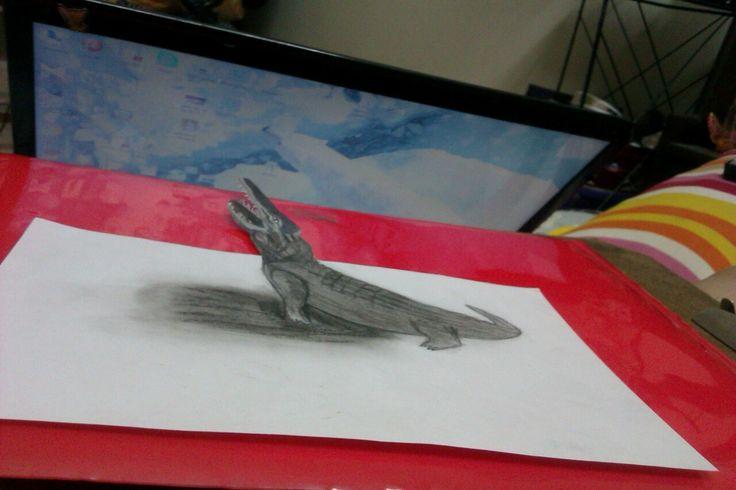 my magical corocodile 3D painting