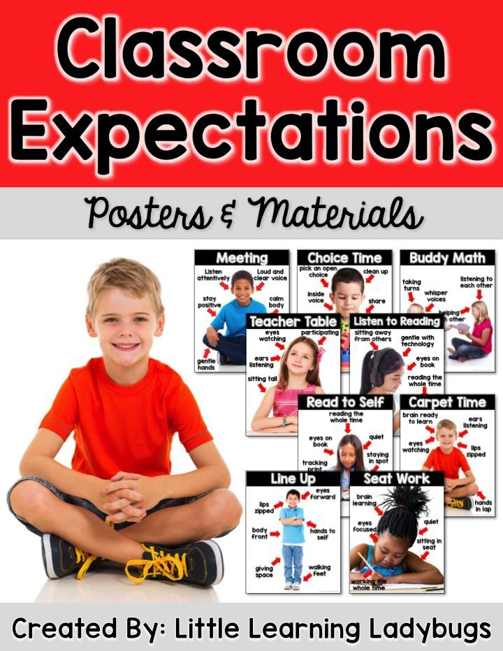 Classroom expectations posters and materials with REAL photographs! Teach students the expectations of seat work, line up, carpet time, read to self, listen to reading, teacher table, buddy math, choice time, and meeting!