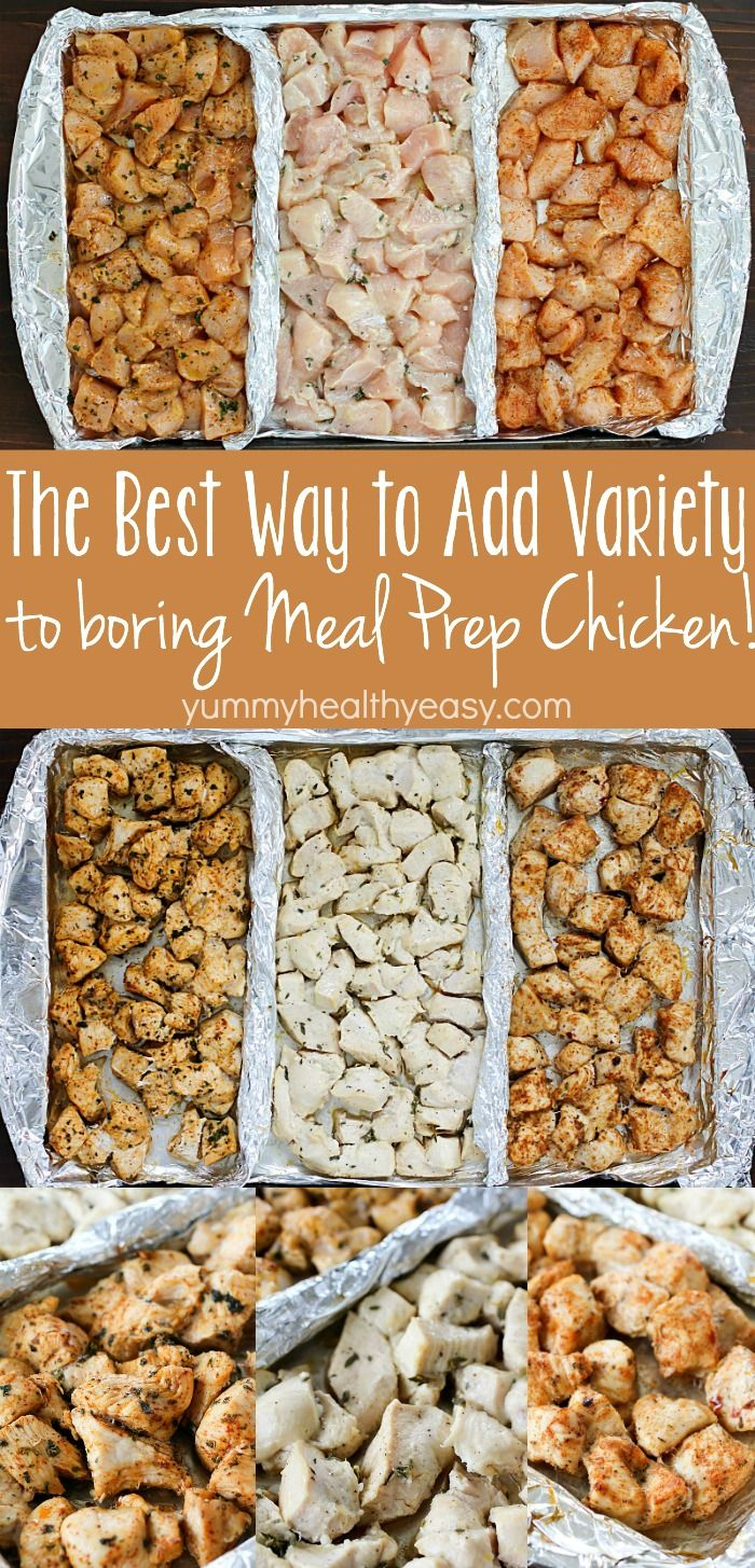 Add variety to that boring meal prep chicken with these three delicious clean-eating marinades! Separate a cookie sheet into thirds using tinfoil and create three different flavors of chicken for your meal plans!