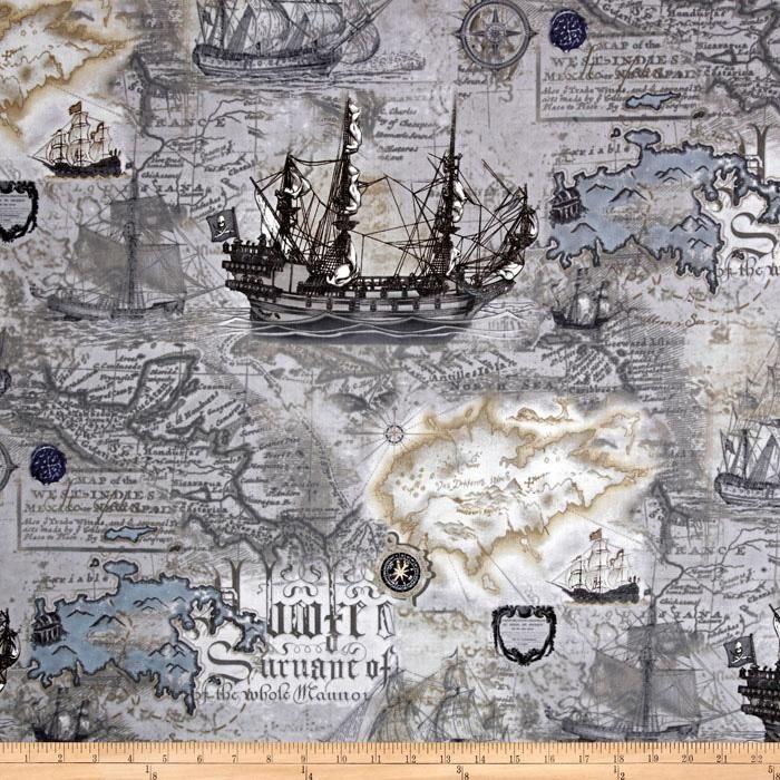 Kanvas Buried Treasure Nautical Map Storm Grey  I love this print!