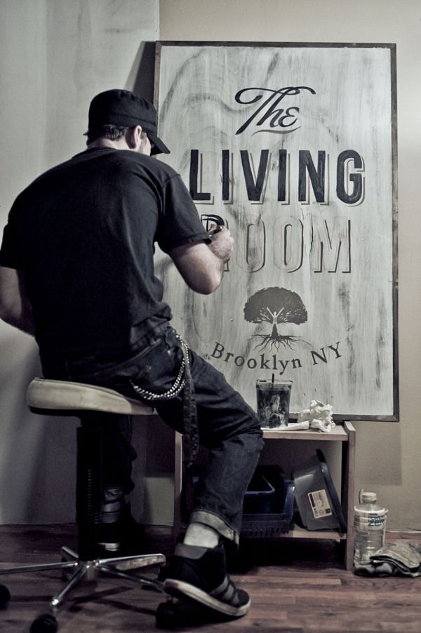 The Living Room {signage and logo}