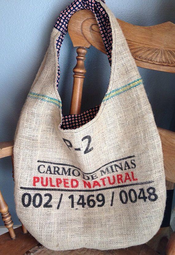 Burlap Coffee Sack Tote - Shoulder Market Tote - Burlap Bag on Etsy, $25.00