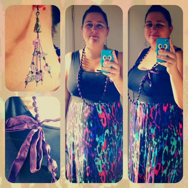 What I'm Wearing | Saturday 7th July 2012 • Dress - Crossroads • Necklace - Diva • Earrings - Handmade by a friend