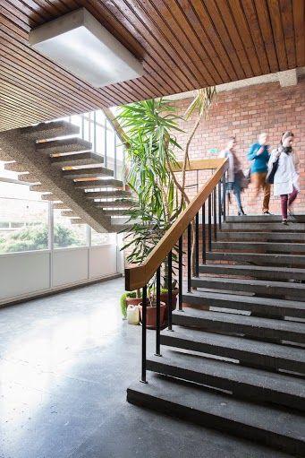 Hall interior; Project: Jan Szymański, Andrzej Jaworski, Jerzy Andrzej Krzewiński; Toruń, 1972 ul. Gagarina 11 Interior preserved; Photographer: Tytus Szabelski.  #polish #architecture #modern #interiorarchitecture #hall