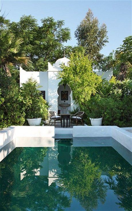 A basic swimming pool was transformed into an oriental oasis by interior designer Frédéric Méchiche's at his 19th-century Moorish villa in Provence - from the Telegraph