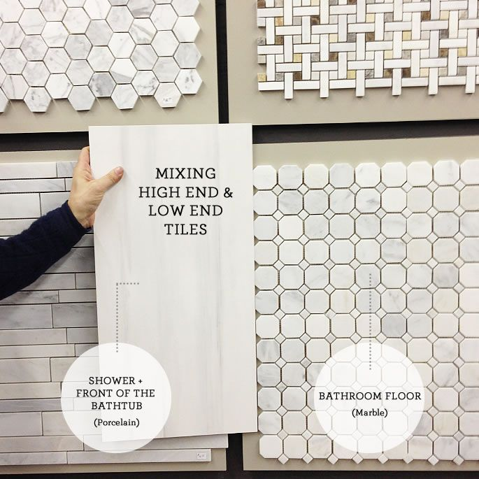 Picking the tile: mixing high end and low end. looks like marble without the upkeep.