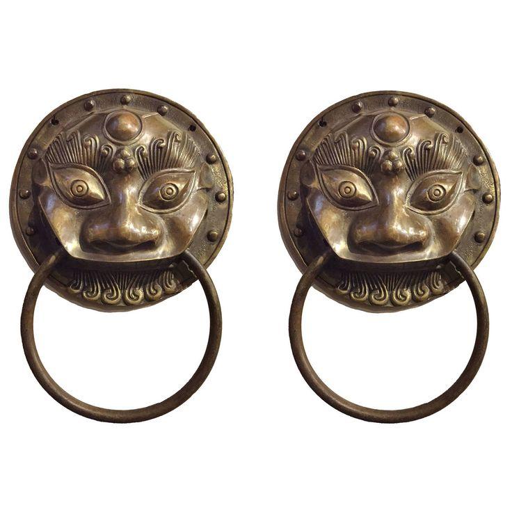 Pair of Large Chinese Brass Door Knockers or Towel Rings | 1stdibs.com