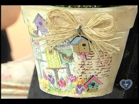 Artesanato - Decoupage e pintura em cerâmica - YouTube