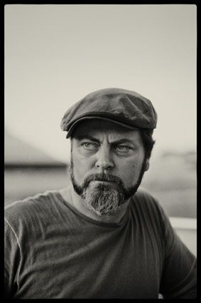 nick offerman (aka ron swanson)...little known fact.  he is a master woodworker.  http://offermanwoodshop.com/