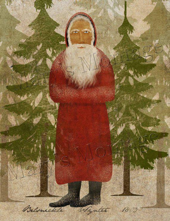 Primitive Christmas Crow Believe in Magic Snow Folk Art PRINT 8x10