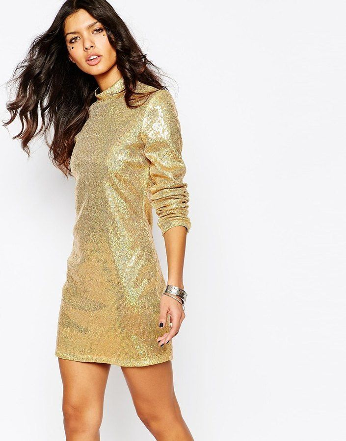 $153, Jaded London Sequin Mini Dress With High Neck Long Sleeves. Sold by Asos. Click for more info: https://lookastic.com/women/shop_items/357377/redirect