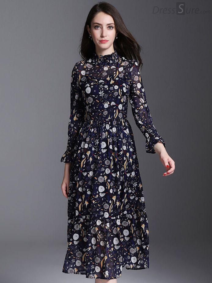 Elegant Floral Stand Collar Long Sleeve Print Skater Dress In 2019
