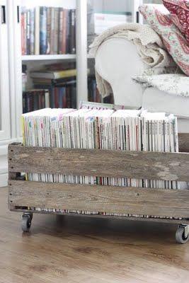 rolling crate magazine holder: Storage Solutions, Magazine Rack, Organizing Ideas, Magazines, Diy