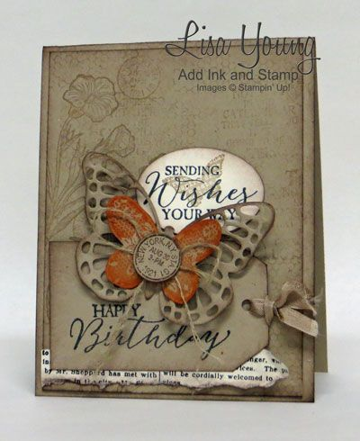 handmade card: Krafty Butterfly Birthday ... luv the kraft with stamping ... die cut butterflies ... Stampin' Up!