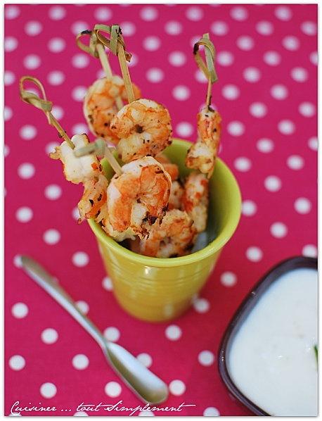 Brochettes de Crevettes au Citron et à la Plancha
