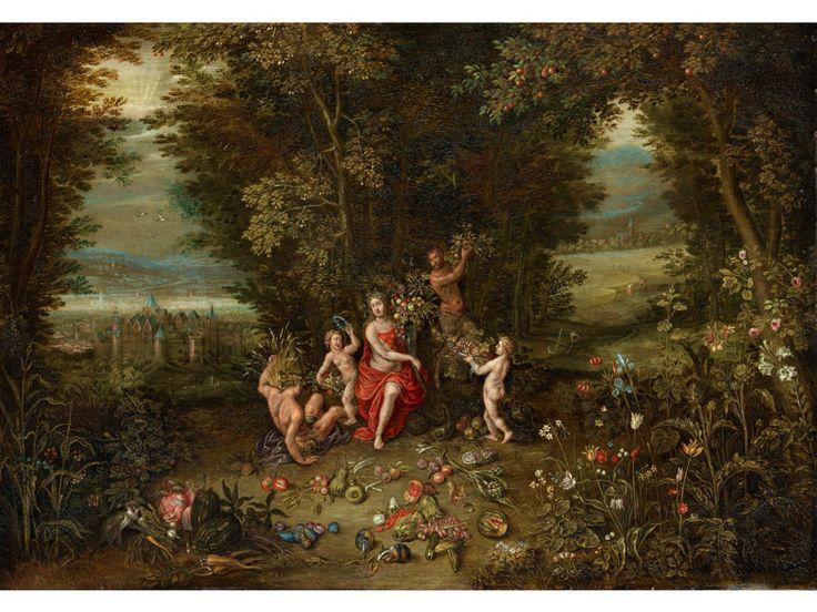 ALLEGORIE DER ABUNDANTIA Öl auf Kupfer, auf Holz. 54,5 x 66 cm. Sinnbild der Erntefülle, wobei hier Sommer- und Herbsternste in einer allegorischen...
