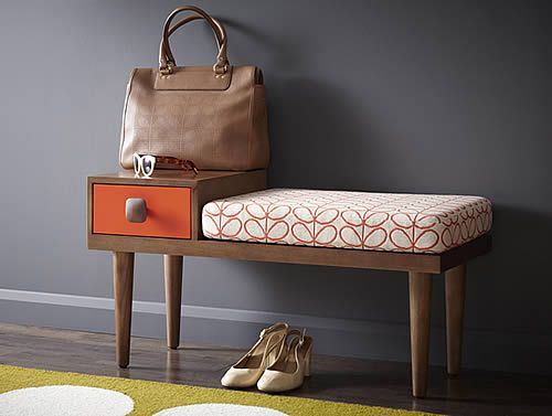 We love the new range of Orla Kiely designed furniture which is sure to add a splash of colour to any space. With a bright orange drawer and 1950s inspired fabric covering the seat, this bench will brighten up your hallway adding a contemporary feel. We think it makes for a great telephone table with a storage drawer for your address book, note pad and pen etc, or how about a place to sit down and take your shoes off at the end of the day.
