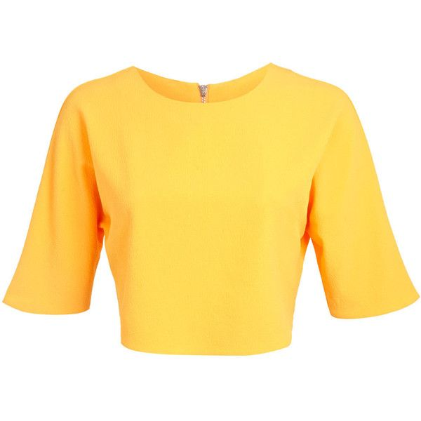 Miss Selfridge Orange Crepe Top (190 UAH) ❤ liked on Polyvore featuring tops, orange, yellow long sleeve top, miss selfridge tops, orange crop top, yellow top and slouchy tops