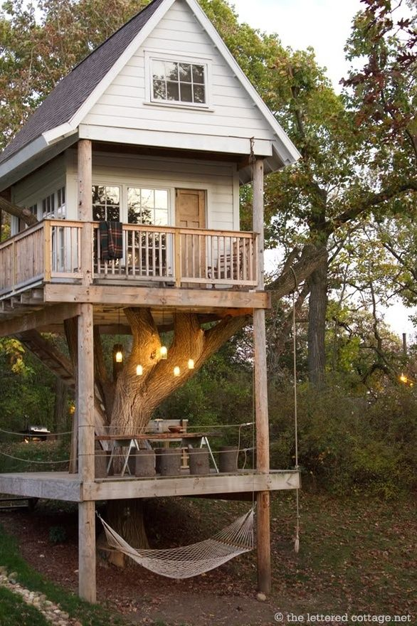 I would love love love to build a bunkie like this by where the hammock is!Hammocks, Tree Houses, Back Yards, Dreams House, Treehouse, Trees House, Kids, Guest Houses, Backyards