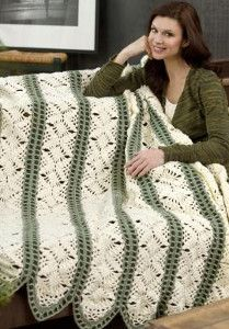 Fast Irish Panels Throw ~ Create an amazing flowery, crochet lace pattern in no time! The Fast Irish Panels Throw has a classic panel format, making it perfect for travel.