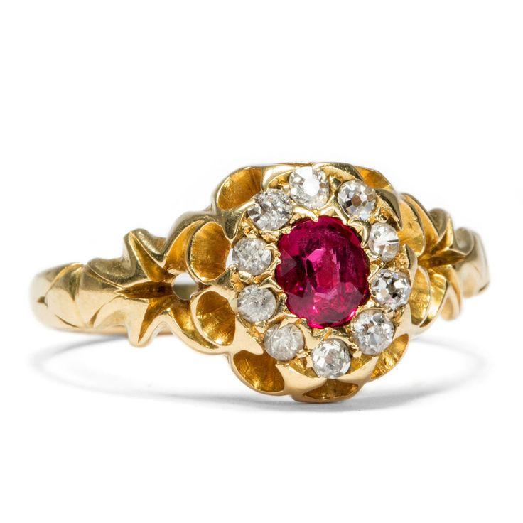 Victorian um 1890: Antiker 750 Gold RING mit Rubin & Diamanten, Verlobungsring