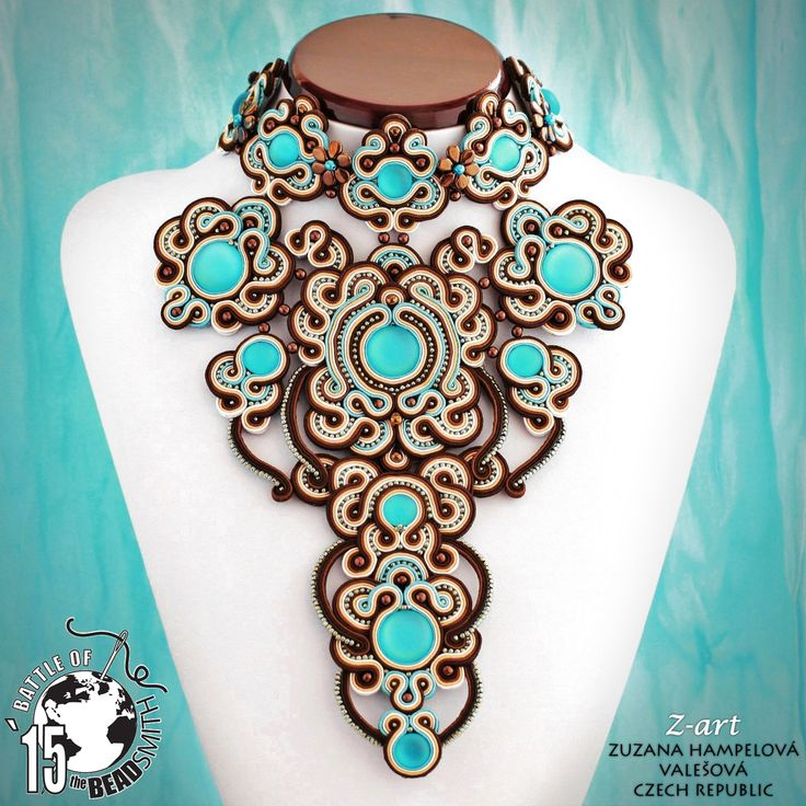 Catarina - soutache necklace made for Battle of the Beadsmith 2015 (BOTB '15) | Zuzana Hampelova Valesova (Lillian Bann) | www.z-art-eshop.cz | http://www.facebook.com/pages/Z-ART/539656212733510
