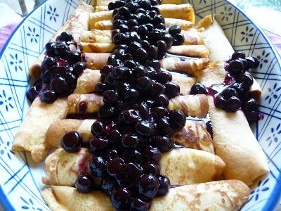 CREAM CHEESE CREPES WITH BLUEBERRY SAUCE - three different carb levels of crepes to choose from. All taste like the real thing!!