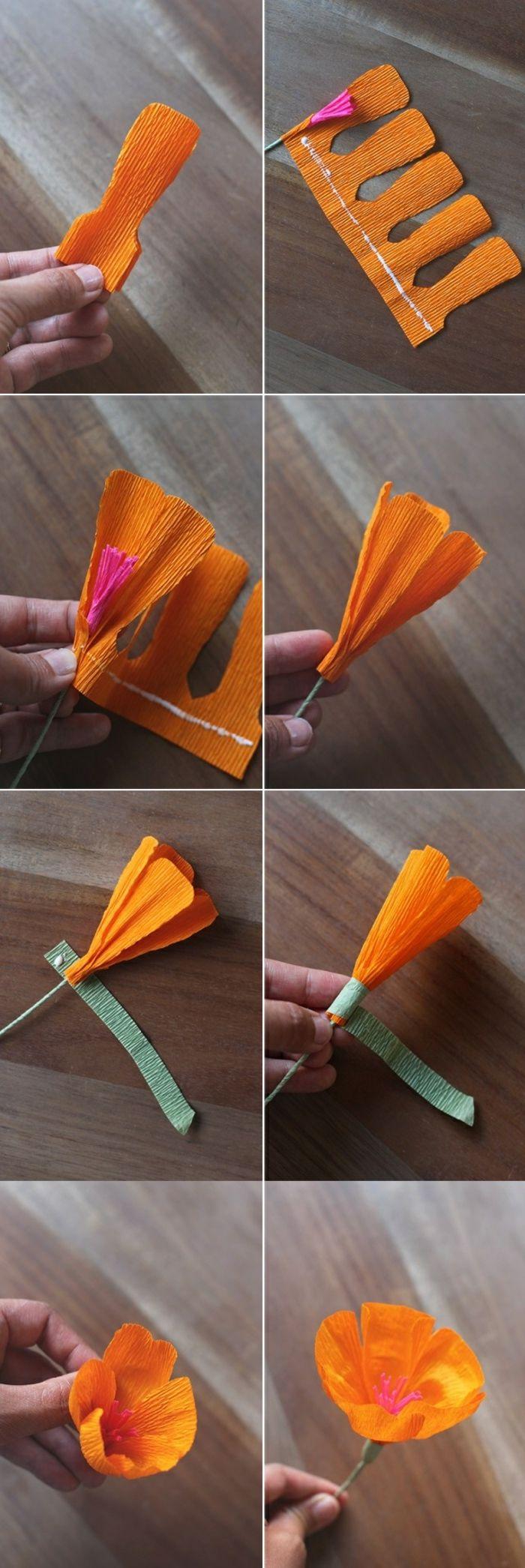 papierblumen basteln, oranges krepppapier, blumenbläter schneiden, diy blume