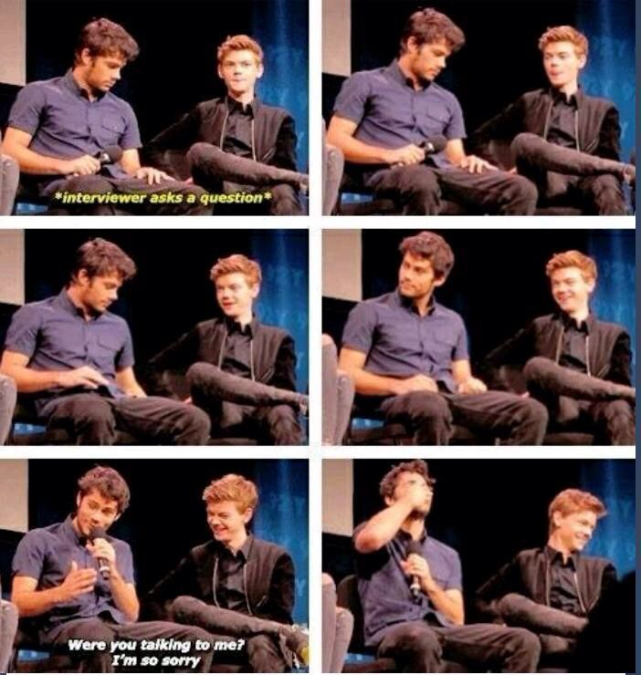 Dylan O'Brien and Thomas Brodie-Sangster - Dylan's so funny, and I love Thomas's laugh!