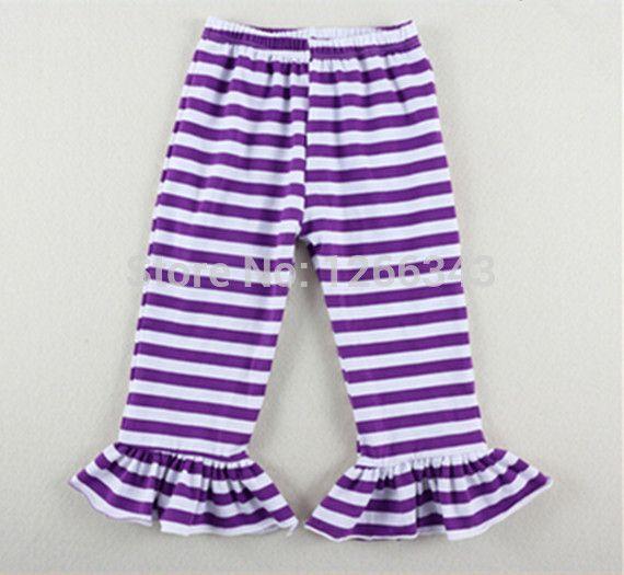 Шикарный фиолетовый белой полосой девушки леггинсы, Хэллоуин рюшами девочки брюки, Малыша полосатые брюки