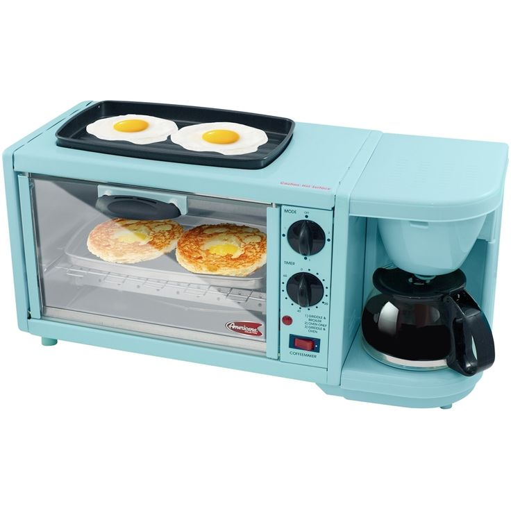 Maxi Matic - Americana Deluxe Breakfast Station 4-Slice Toaster Oven - Black/blue