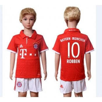 Kinder Fussball Trikot Bayern Munich 2016-17 Robben 10 Heim Trikotsatz Kurzarm