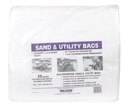 "Halsted 581527HUV White Sand Bags, 15"" x 17"""