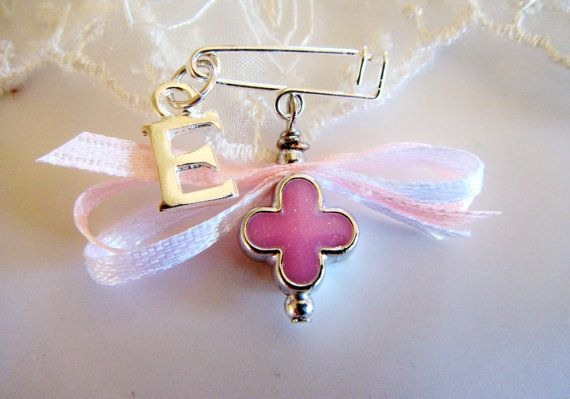 Girls Witness pins, Martirika, Martyrika, Pink Clover Cross, Ribbon and Baby's Initial Letter Charm(MN24)- 10 pieces