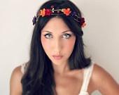 Autumn Flower Crown, Fall Wedding Tiara, Daisy, Gerbera, wedding accessories, bridal flower, red, purple, orange, yellow. $60.00, via Etsy.