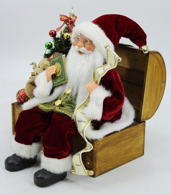Christmas Santa On Wood Chest Loaded With Toys Figurine Wood Chest Wood Toy Chest The Holiday Aisle