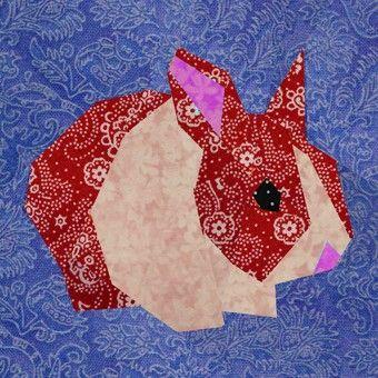 Rabbit paper pieced quilt block pattern PDF by BubbleStitch, $2.70