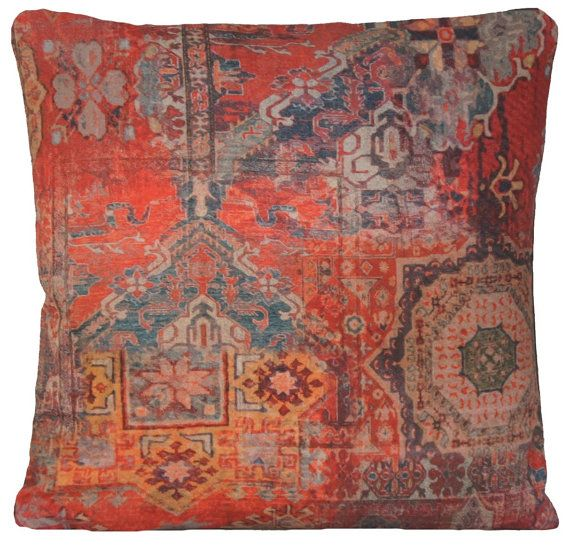 Red Cushion Cover Ethnic Rug Square Throw by CoralHomeAccessories