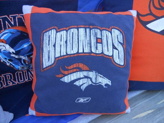 Denver Bronco Football Tshirt Pillow by MossReCreations on Etsy, $20.00