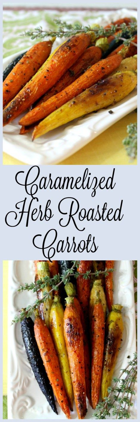 Caramelized Herb Roasted Carrots - Tender, petite oven roasted carrots with olive oil, fresh herbs and brown sugar. Slightly sweet and a little savory, such a wonderful combination of rustic flavors.